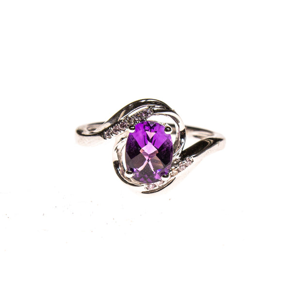 14KW Amethyst Twist Bypass Ring