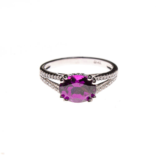 14KW Purple Garnet Split Shank Ring