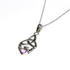 Sterling Silver Celtic Heart Claddagh  Genuine Amethyst Necklace