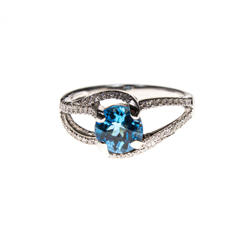 14KW Round Blue Topaz Branched Shank Ring