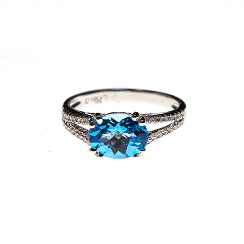14KW Gold Blue Topaz Ring