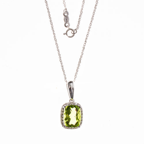 14K Peridot Rectangle Necklace