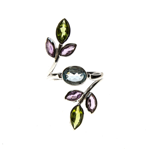 SS Blue Topaz Amethyst and Peridot Rainbow Leaf Ring Size 8