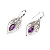 SS Amethyst Filigree Marquis Earrings