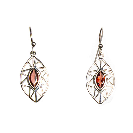 SS Filigree Garnet Marquis Dangle Earrings