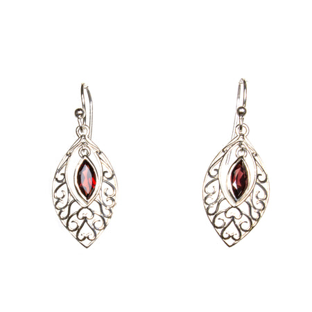 SS Garnet Oval Dangle Earring