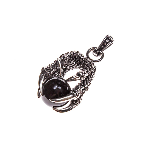 Stainless Steel Dragon's Claw and Onyx Pendant