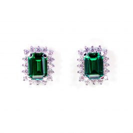 Sterling Silver Created Emerald & CZ Rect Stud Earrings