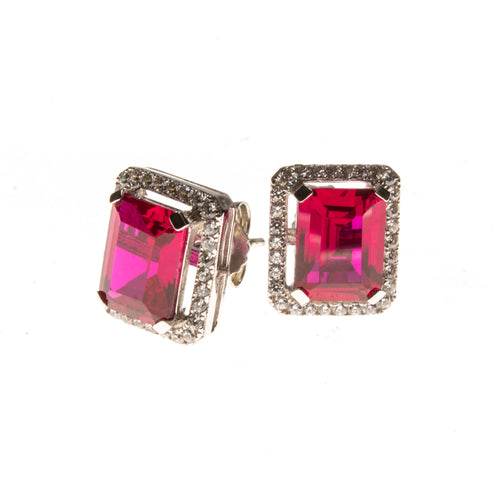 Sterling Silver Ruby and CZ Rectangle Stud Earrings