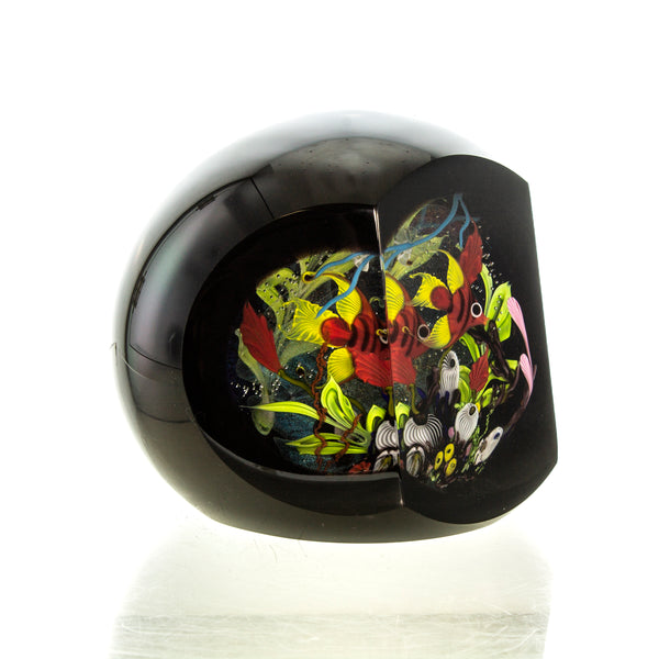 Stuart Abelman Glass Fishbowl Sculptural Paperweight