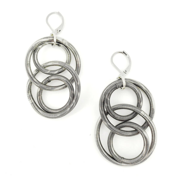 Recycled Piano Wire 4 Large Loop Earrings in Silver