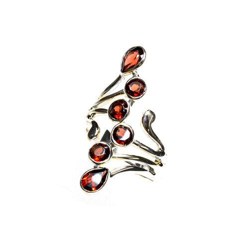 SS Garnet Tendrils Wrap Ring