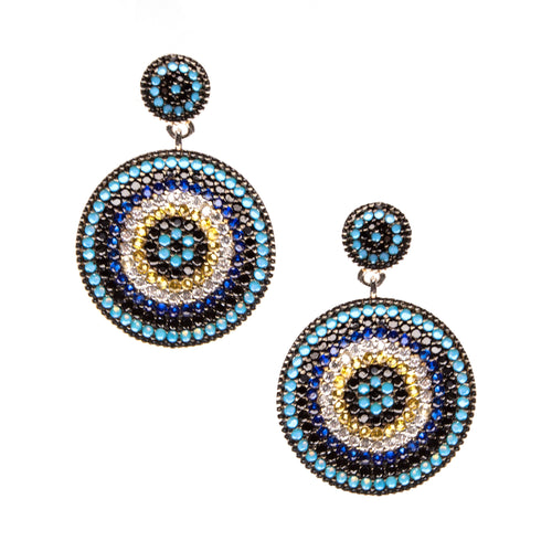 Vermeil Crystal Round Earrings