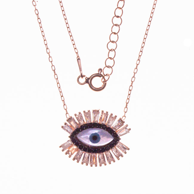 Sterling Silver Rose Gold Plated Evil Eye Necklace