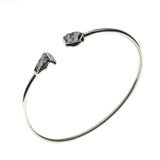 Sterling Silver Rough Silicon Meteorite Cuff Bracelet