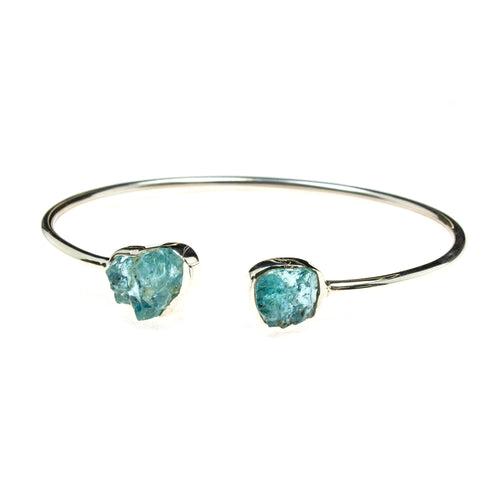 Sterling Silver Rough Aquamarine Cuff Bracelet