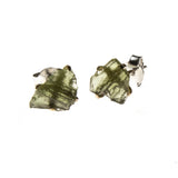 Sterling Silver Raw Moldavite Nugget Stud Earrings