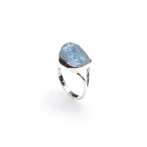 SS Rough Aquamarine Bezel Split Shank Ring (Size 10.5)