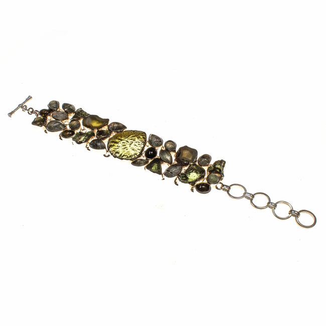 Sterling Silver Moldavite, Tourmaline and Quartz Bracelet