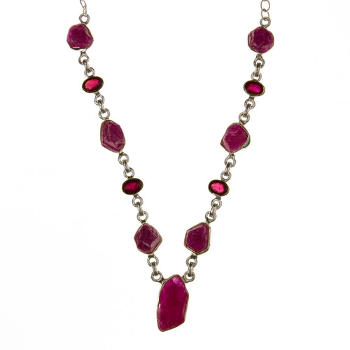 Sterling Silver Ruby Rough and Faceted Necklace