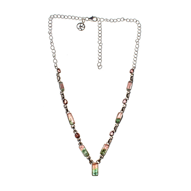 Sterling Silver Two-Toned Tourmaline Bar Necklace