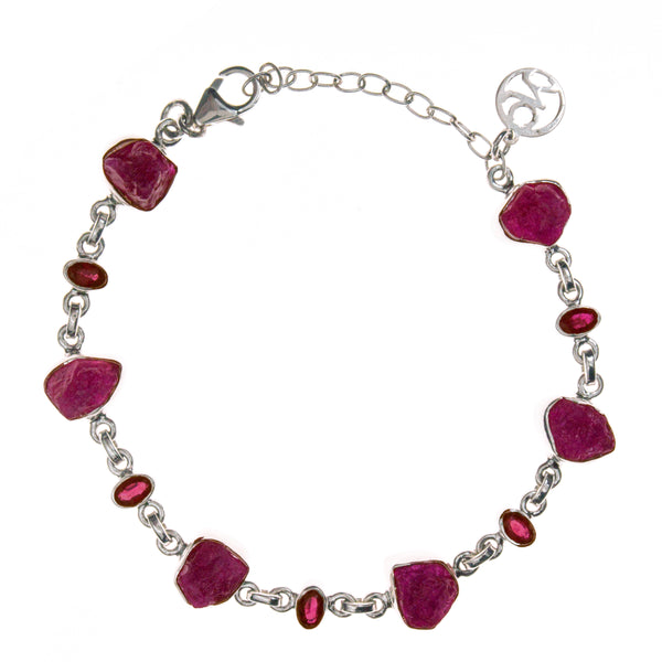 Sterling Silver Ruby Rough and Faceted Bracelet