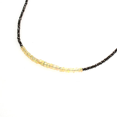 SS Black Spinel and Ethiopian Opal Beaded Necklace