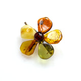SS Multi-colored Amber Flower Pin/Pendant
