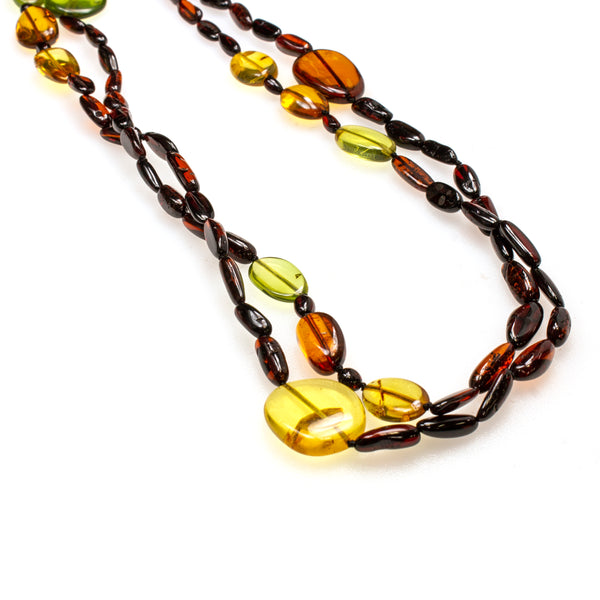SS Mixed Amber Long Beaded Wrap Necklace
