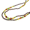 SS Multi-colored Amber Polyhedron Long Beaded Necklace