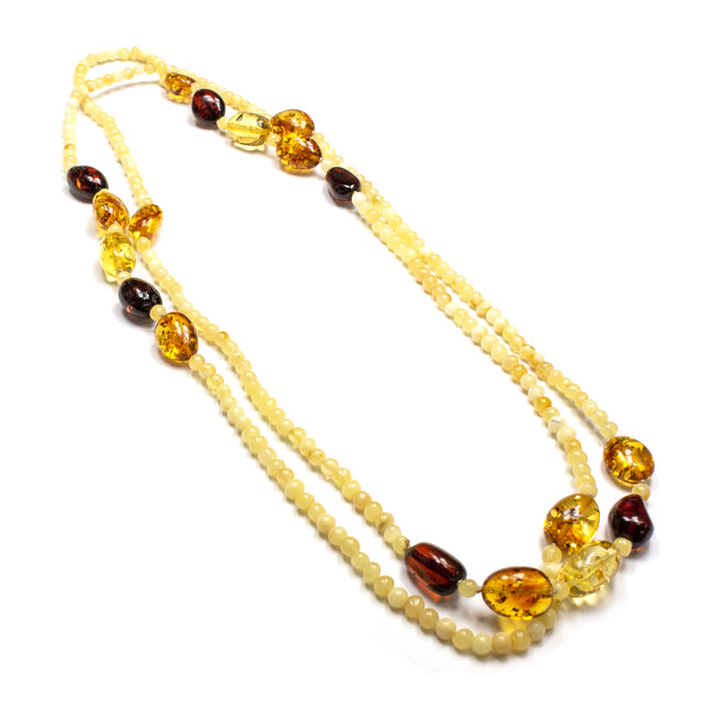 SS Butterscotch Beaded Long Amber Necklace
