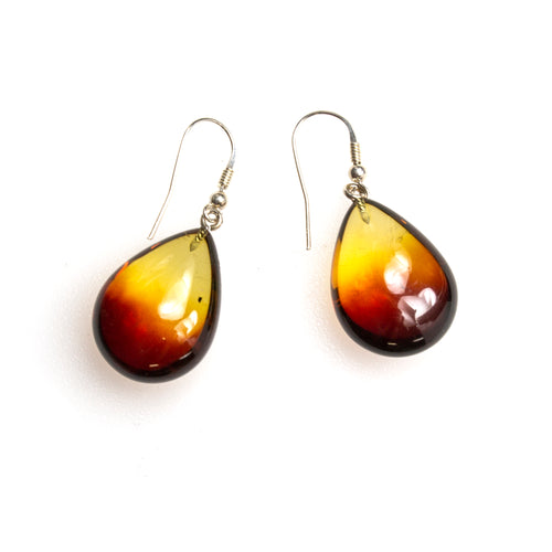 SS Variegated Amber Pear Earrings