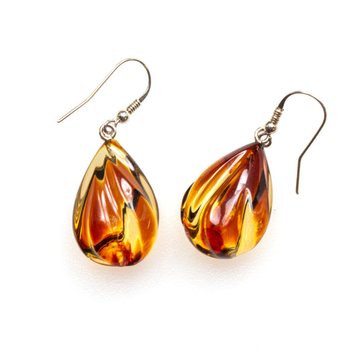 SS Carved Toasted Amber Pear Earrings