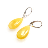 SS Butterscotch Amber Pear Earrings