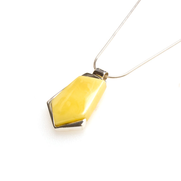SS Geometric Butterscotch Amber Necklace