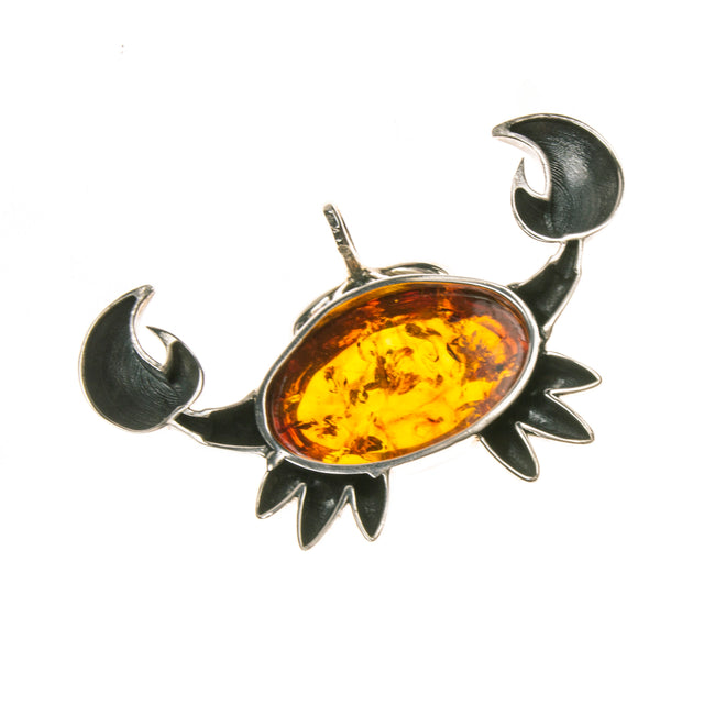 Sterling Silver Amber Crab Pendant