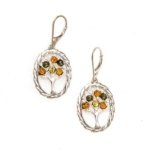 SS Amber Fruiting Tree W/ Rope Frame Earrings