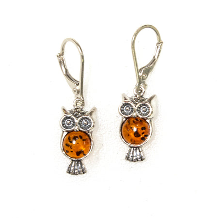 SS Filigree Amber Owl Pendants W/ Stone Eyes