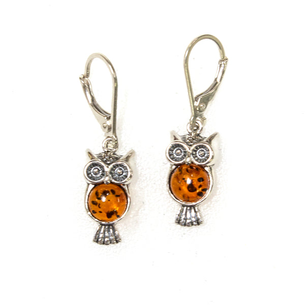 SS Amber Owl Earrings