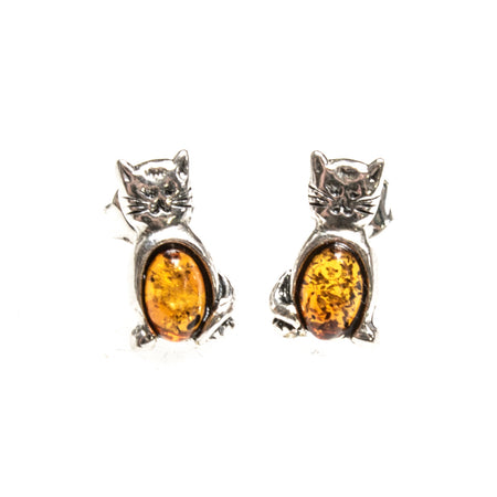 SS Sitting Cat Stud Earrings