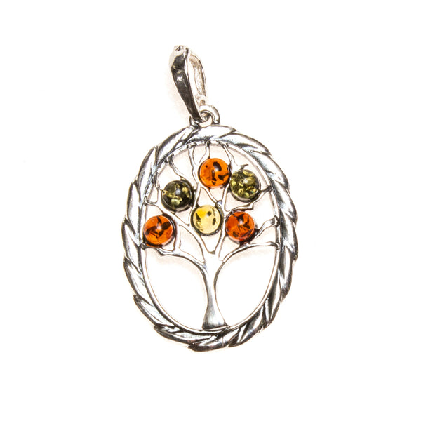 SS Twisted Oval Tree of Life Pendant