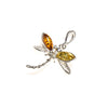 SS Amber Dragonfly Pendant