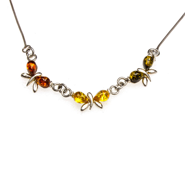 SS Multi-colored Amber Butterfly Necklace