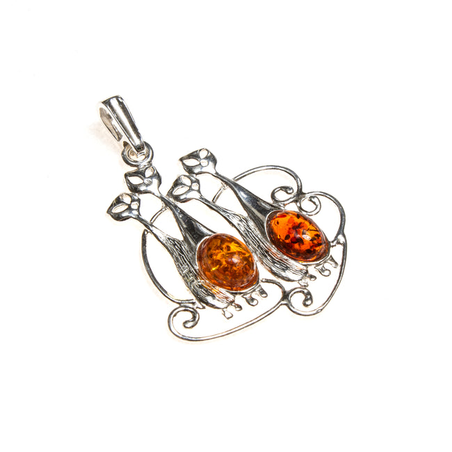 SS Amber Kitty Quartet Pendant