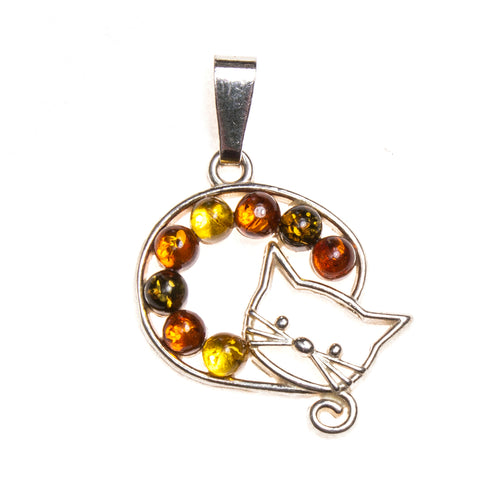 SS Multi-color Amber Curled-up Cat Pendant