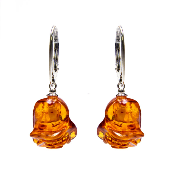 Sterling Silver Amber Carved Rose Earrings