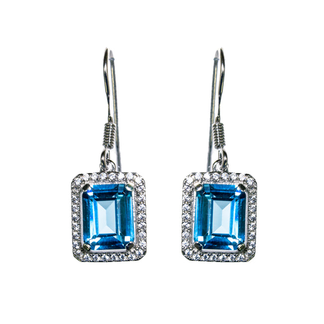 Sterling Silver Created Aquamarine & CZ Earrings