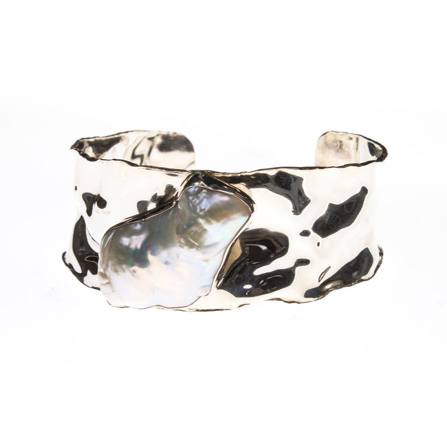 Hammered Sterling Silver Keshi Pearl Wide Cuff Bracelet