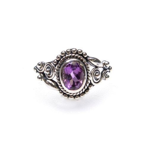 SS Amethyst Oval Rope Bead & Swirl Ring (Size 7)