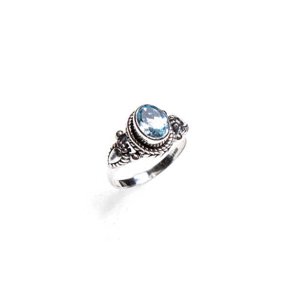 SS Blue Topaz Oval Rope Trim Ring (Size 7.5)
